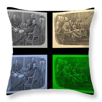 Declaration Of Independence In Quad Colors Throw Pillow by Rob Hans