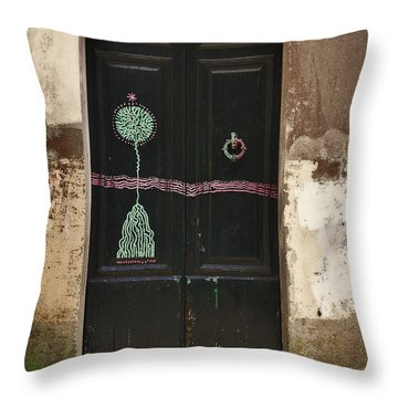 Decorated Door Throw Pillow by Mary Machare