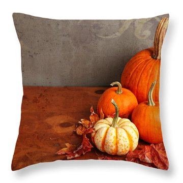 Throw Pillow featuring the photograph Decorative Fall Pumpkins by Verena Matthew