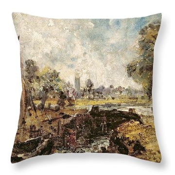 Dedham Lock Throw Pillow by John Constable