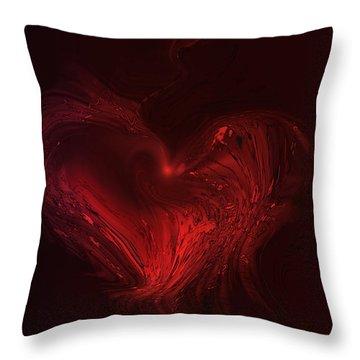 Deep Hearted Throw Pillow by Linda Sannuti