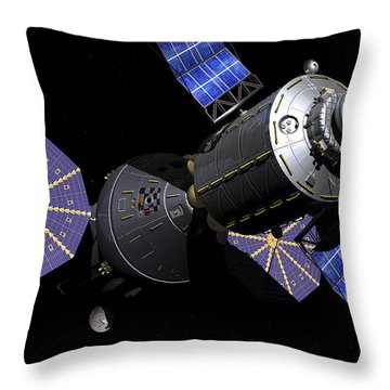 Deep Space Vehicle And Extended Stay Throw Pillow by Walter Myers