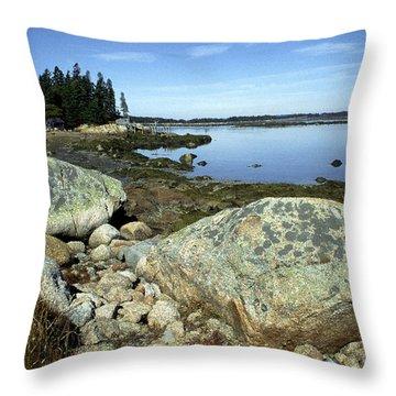 Deer Isle Granite Shoreline Throw Pillow by Thomas R Fletcher
