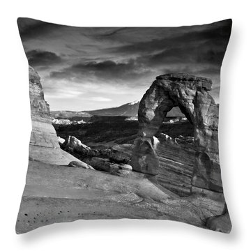 Delicate Arch Bw Throw Pillow