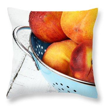 Delicious Peaches Throw Pillow by Stephanie Frey
