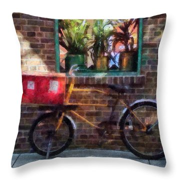 Delivery Bicycle Greenwich Village Throw Pillow by Susan Savad
