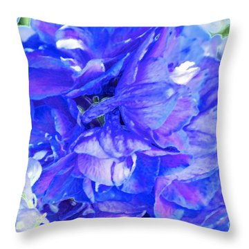Delphinium Blue Throw Pillow by Gwyn Newcombe