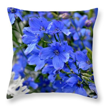 Throw Pillow featuring the photograph Delphinium Blue Mirror by Tanya  Searcy