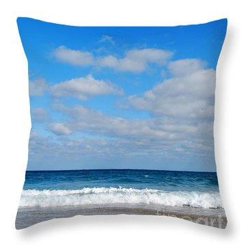 Delray Sea And Sky Throw Pillow by Linda Mesibov