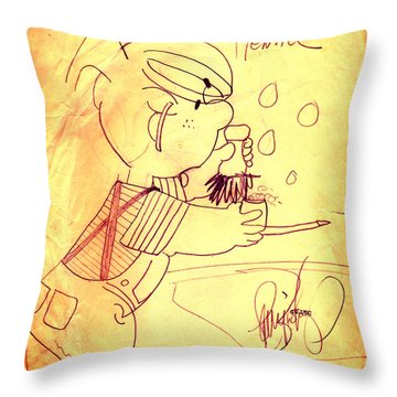 Throw Pillow featuring the photograph Dennis Retro by Larry Bishop