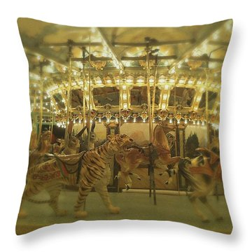 Dentzel Carousel At Glen Echo Park Maryland Throw Pillow