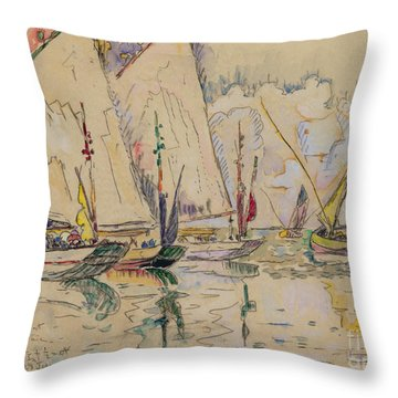 Departure Of Tuna Boats At Groix Throw Pillow by Paul Signac