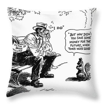 Depression Cartoon 1932 Throw Pillow by Granger