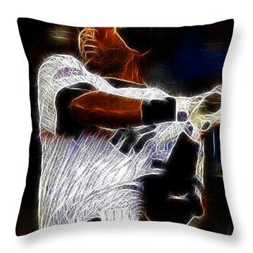 Derek Jeter New York Yankee Throw Pillow by Paul Ward