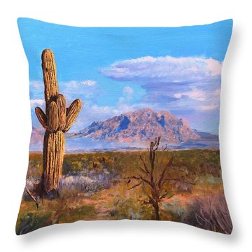 Throw Pillow featuring the painting Desert Scene 4 by M Diane Bonaparte