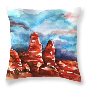 Throw Pillow featuring the painting Desert Sentries by Sharon Mick