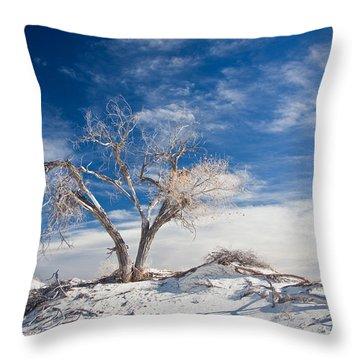 Desert Tree In White Sands Throw Pillow by Ralf Kaiser