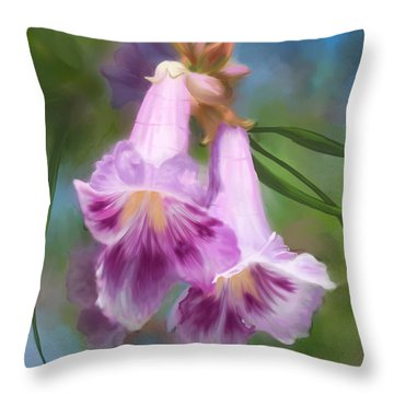 Throw Pillow featuring the painting Desert Willow Floral Wall Art by Judy Filarecki