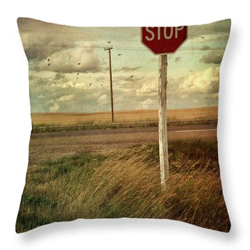 Deserted Red Stop Sign On The Prairies Throw Pillow by Sandra Cunningham