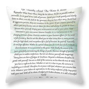 Desiderata Ocean Wave Throw Pillow by Desiderata Gallery