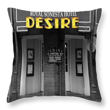 Desire Corner Bourbon Street French Quarter New Orleans Color Splash Black And White Digital Art  Throw Pillow by Shawn O'Brien