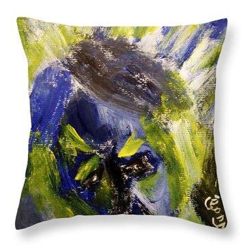 Despondent Expressionistic Portrait Figure In Blue And Yellow Religious Symbols Of Glory Bursting Throw Pillow