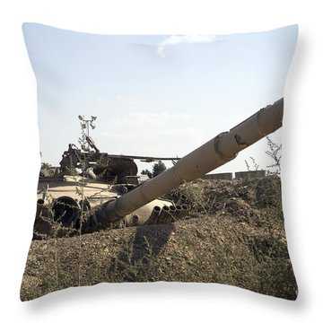 Destroyed Iraqi Tanks Near Camp Slayer Throw Pillow by Terry Moore