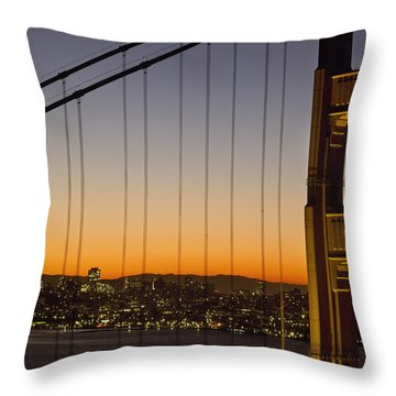 Detail Of The Golden Gate Bridge At Throw Pillow by Axiom Photographic