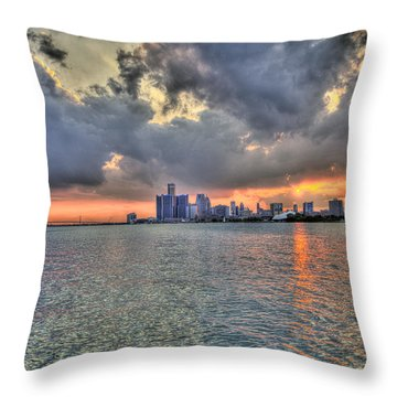 Detroit Sunset  Throw Pillow
