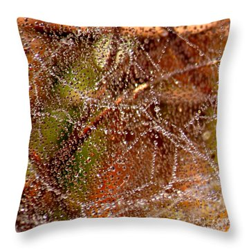 Dewdrops - Colorful Abstract Throw Pillow by Carol Groenen