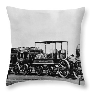 Dewitt Clinton Locomotive And Cars Throw Pillow by Omikron