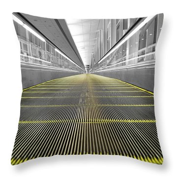 Throw Pillow featuring the photograph Dfw Airport Walkway Perspective Color Splash Black And White by Shawn O'Brien