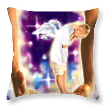 Diamond-meeks.angelic Throw Pillow by Nada Meeks
