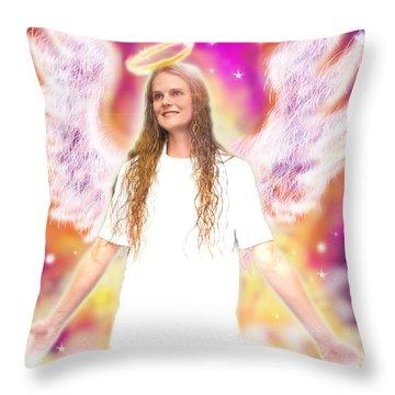 Diamond.angelic 4 Throw Pillow by Nada Meeks