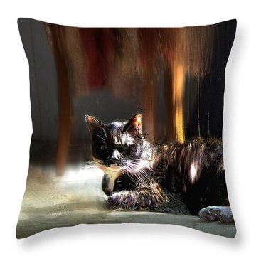Diane's Cat Throw Pillow