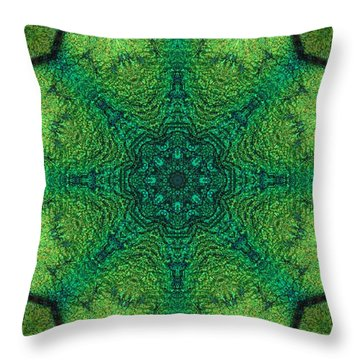 Dichro Green Throw Pillow by Kathy Sheeran