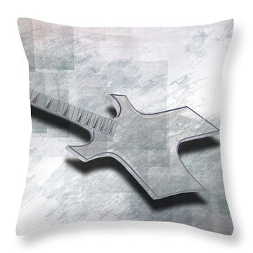 Digital-art E-guitar IIi Throw Pillow by Melanie Viola