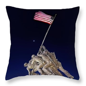 Digital Drawing - Iwo Jima Memorial At Dusk Throw Pillow