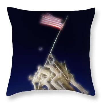 Digital Lightening - Iwo Jima Memorial Throw Pillow