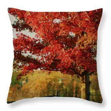 Digital Painting Maple Tree In Full Color Throw Pillow by Sandra Cunningham