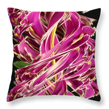 Digital Streak Image Of African Violets Throw Pillow by Ted Kinsman