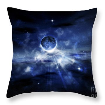 Digitally Generated Image Of A Planet Throw Pillow by Vlad Gerasimov