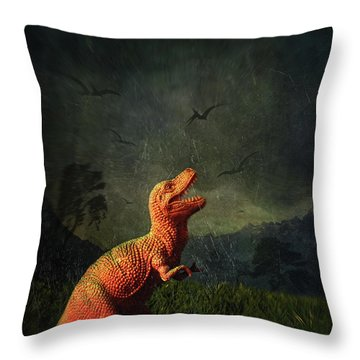 Dinosaur Toy Figure In Surreal Landscape Throw Pillow by Sandra Cunningham