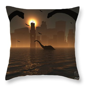 Dinosaurs Feed Near The Shores Throw Pillow by Mark Stevenson