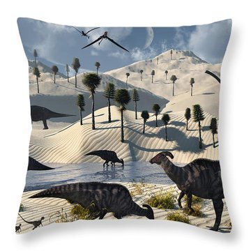 Dinosaurs Gather At A Life Saving Oasis Throw Pillow by Mark Stevenson