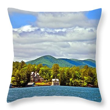 Distant Lake View In Spring Throw Pillow by Susan Leggett