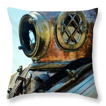 Dive Helmet Throw Pillow by Rene Triay Photography