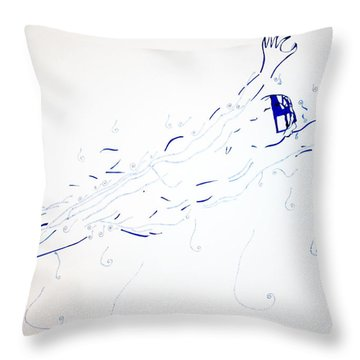 Diving Throw Pillow by Gloria Ssali