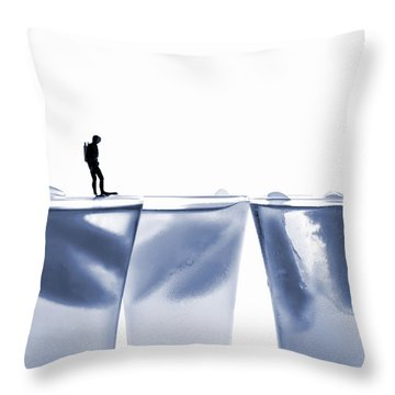 Diving In Ice Water Throw Pillow by Paul Ge