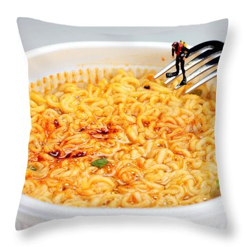 Diving In Noodle Soup Throw Pillow by Paul Ge
